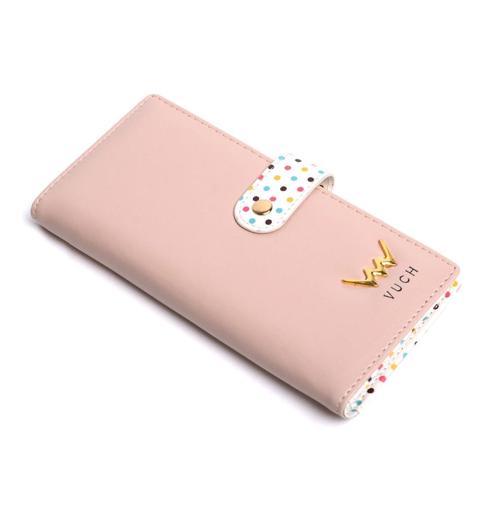 Vuch - Różowy portfel damski w kropki ze skóry